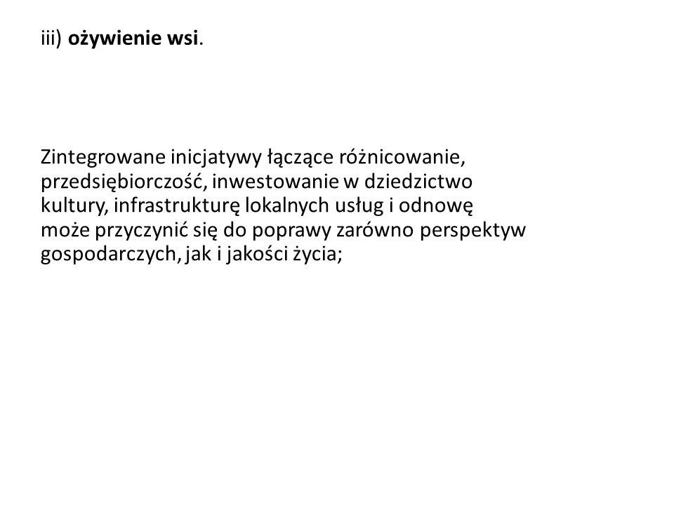 iii) ożywienie wsi.