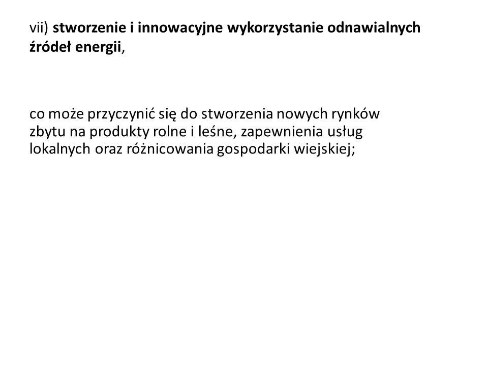 vii) stworzenie i innowacyjne wykorzystanie odnawialnych źródeł energii,