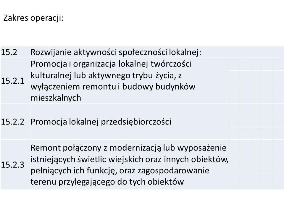Zakres operacji: 15.2. Rozwijanie aktywności społeczności lokalnej: 15.2.1.