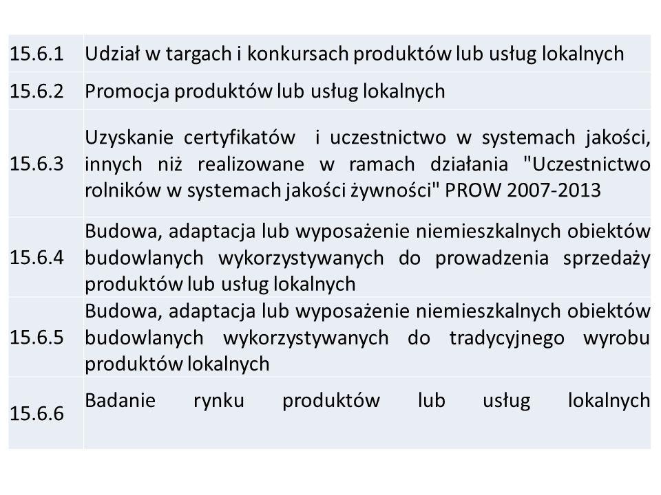 15.6.1 Udział w targach i konkursach produktów lub usług lokalnych. 15.6.2. Promocja produktów lub usług lokalnych.