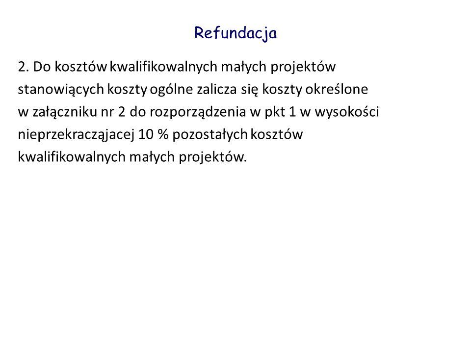 Refundacja 2. Do kosztów kwalifikowalnych małych projektów. stanowiących koszty ogólne zalicza się koszty określone.