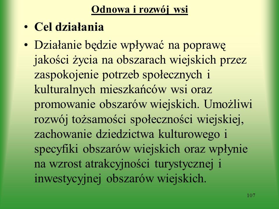 Odnowa i rozwój wsi Cel działania.