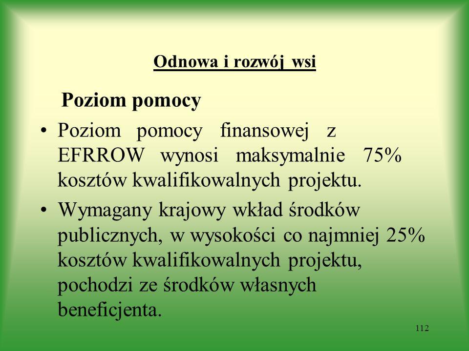 Odnowa i rozwój wsi Poziom pomocy. Poziom pomocy finansowej z EFRROW wynosi maksymalnie 75% kosztów kwalifikowalnych projektu.