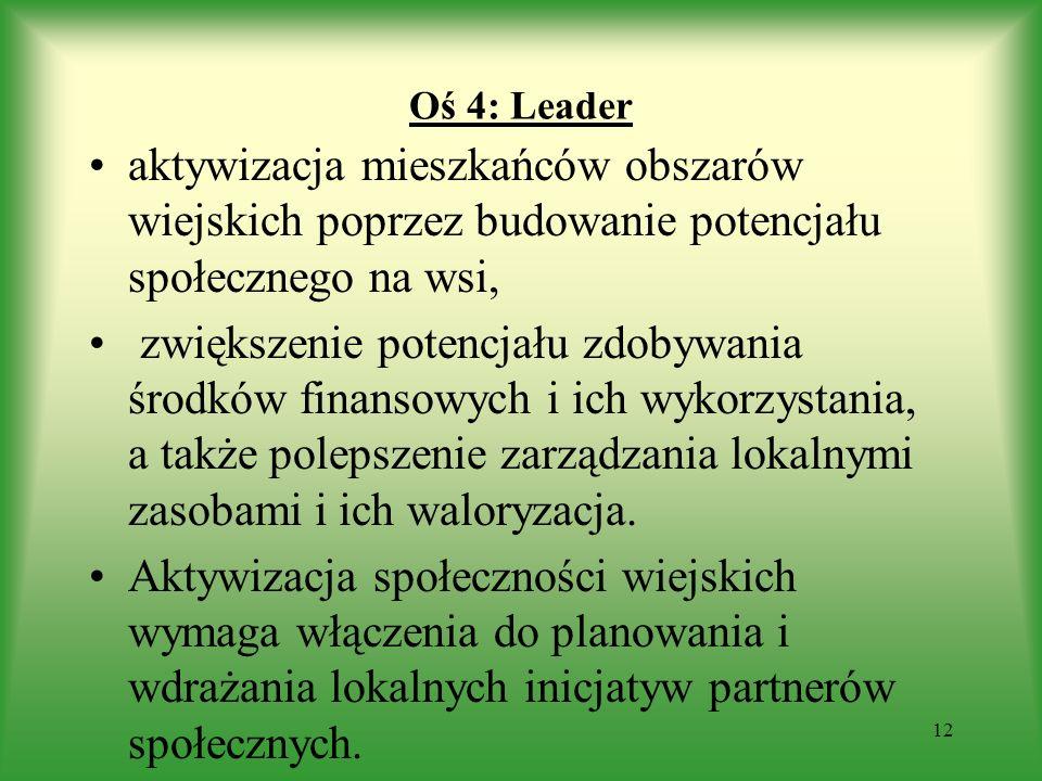 Oś 4: Leader aktywizacja mieszkańców obszarów wiejskich poprzez budowanie potencjału społecznego na wsi,