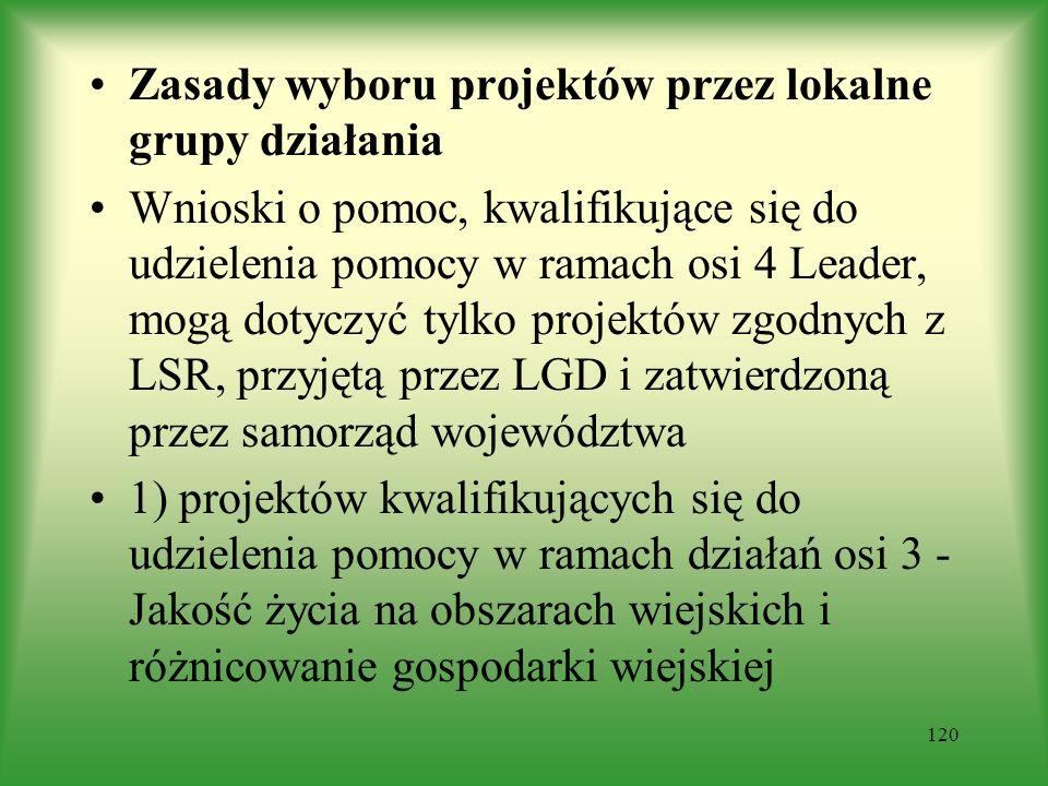 Zasady wyboru projektów przez lokalne grupy działania