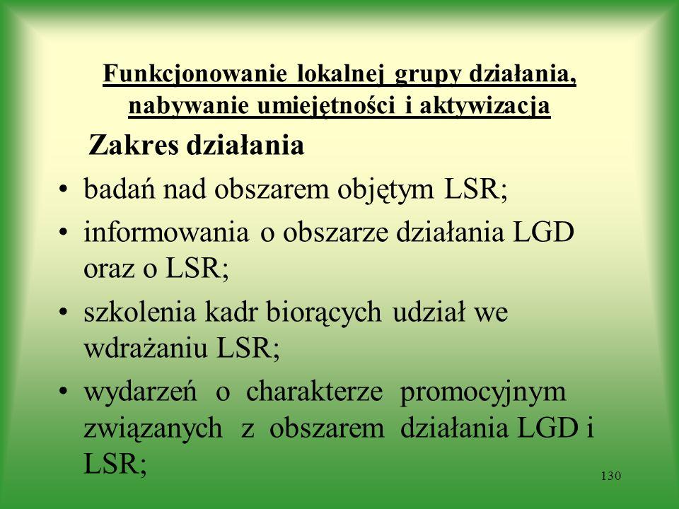 badań nad obszarem objętym LSR;