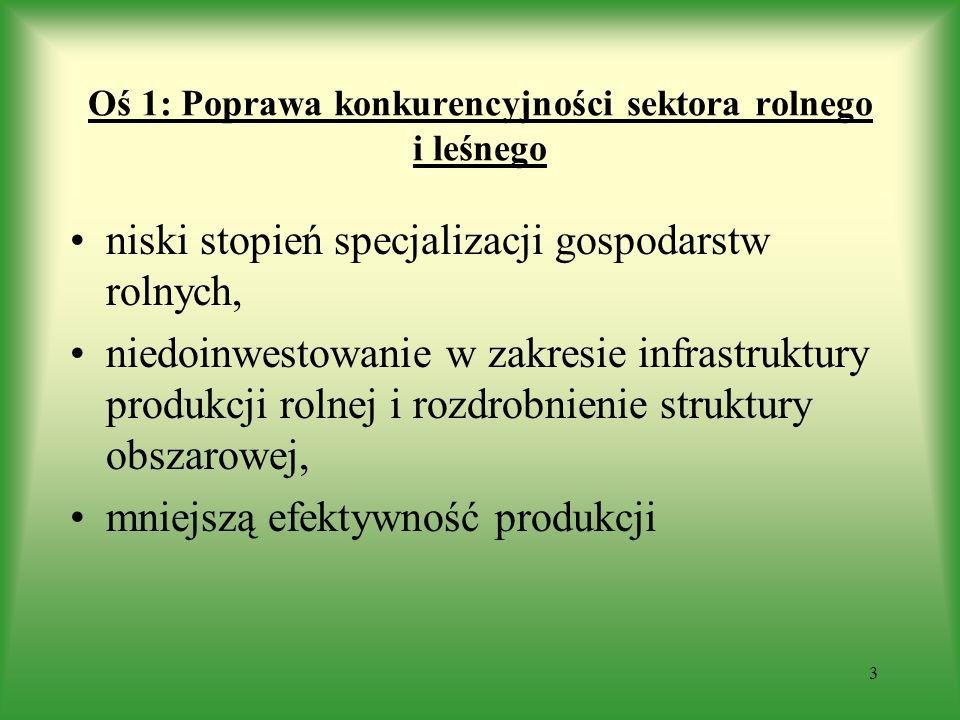 Oś 1: Poprawa konkurencyjności sektora rolnego i leśnego