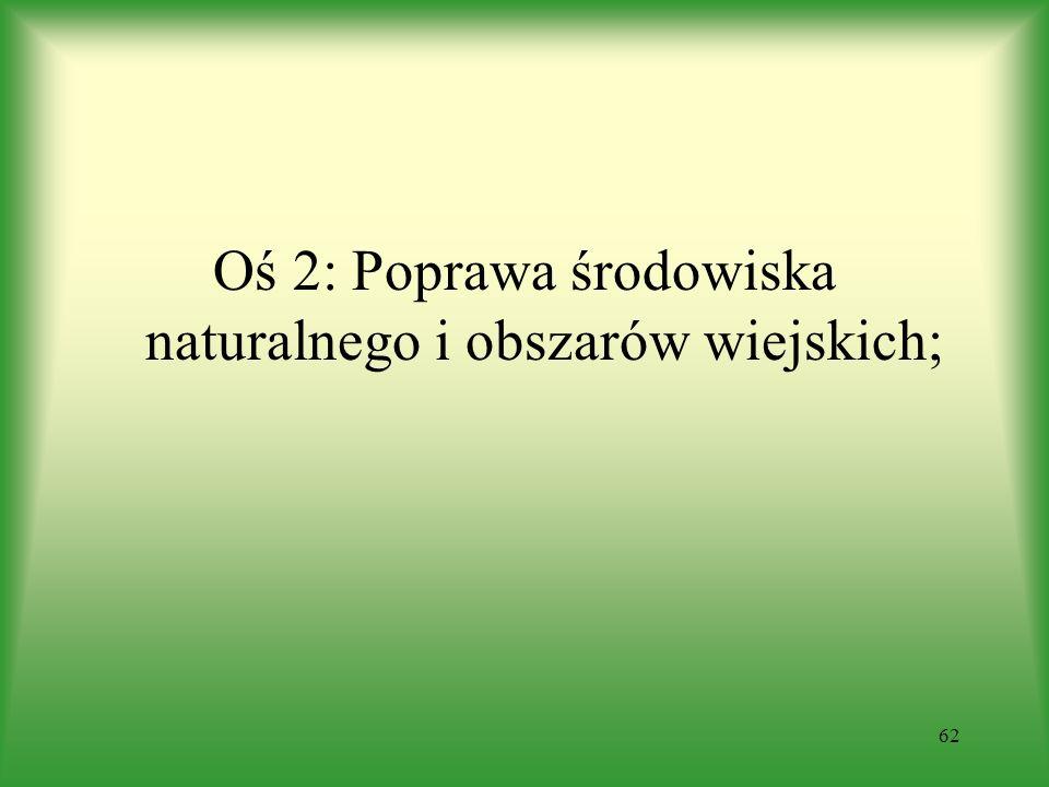Oś 2: Poprawa środowiska naturalnego i obszarów wiejskich;