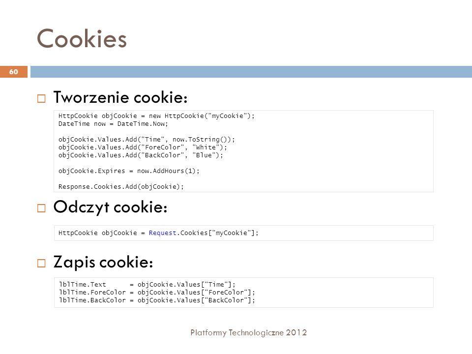 Cookies Tworzenie cookie: Odczyt cookie: Zapis cookie: