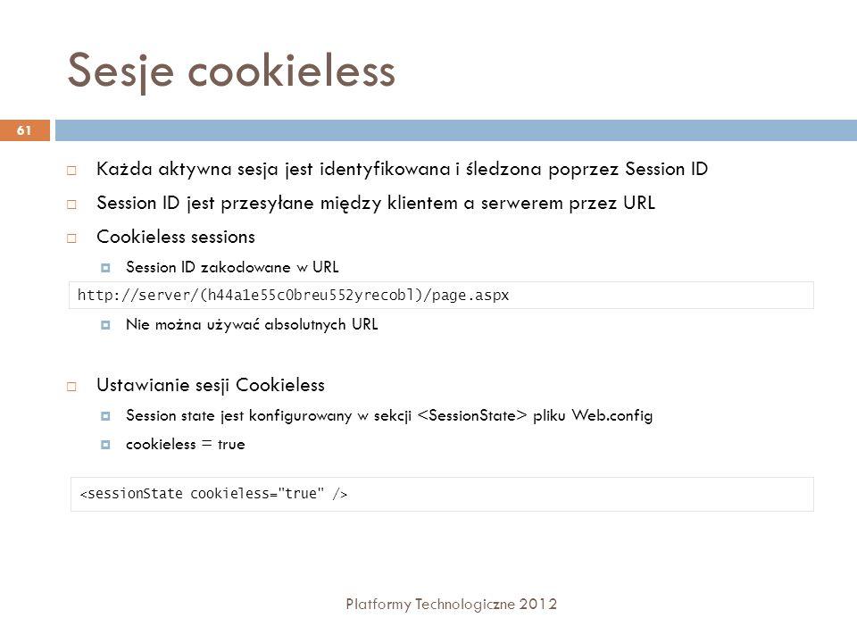 Sesje cookieless Każda aktywna sesja jest identyfikowana i śledzona poprzez Session ID.