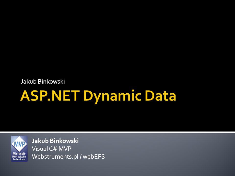 ASP.NET Dynamic Data Jakub Binkowski Jakub Binkowski Visual C# MVP