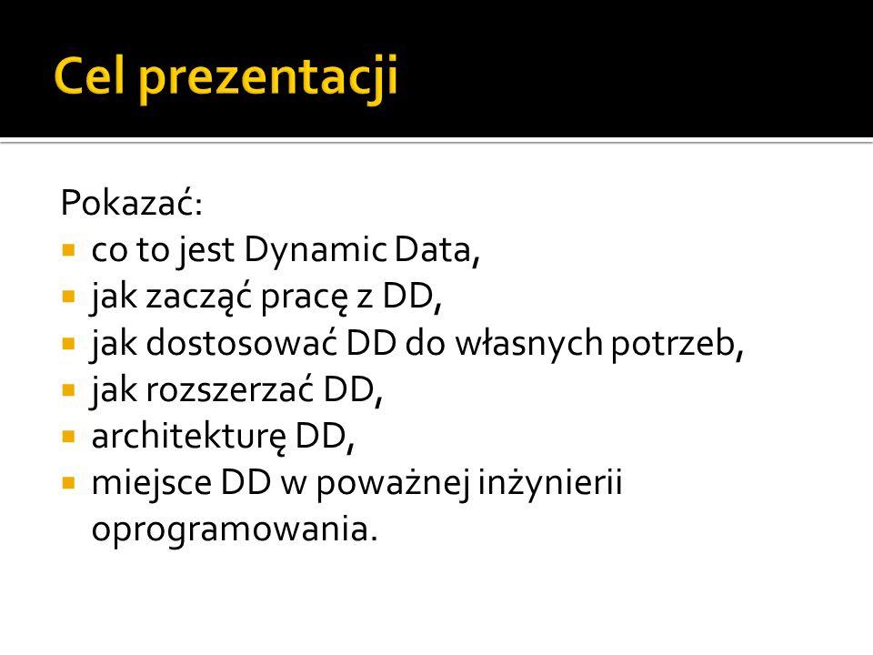 Cel prezentacji Pokazać: co to jest Dynamic Data,