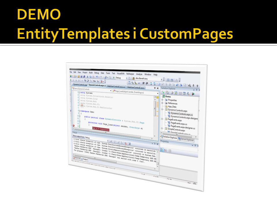 DEMO EntityTemplates i CustomPages