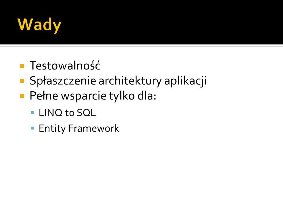 Wady Testowalność Spłaszczenie architektury aplikacji