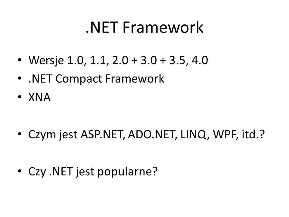 .NET Framework Wersje 1.0, 1.1, 2.0 + 3.0 + 3.5, 4.0