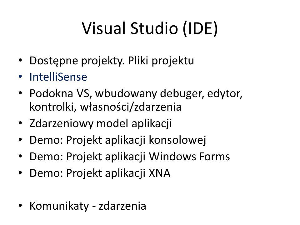 Visual Studio (IDE) Dostępne projekty. Pliki projektu IntelliSense