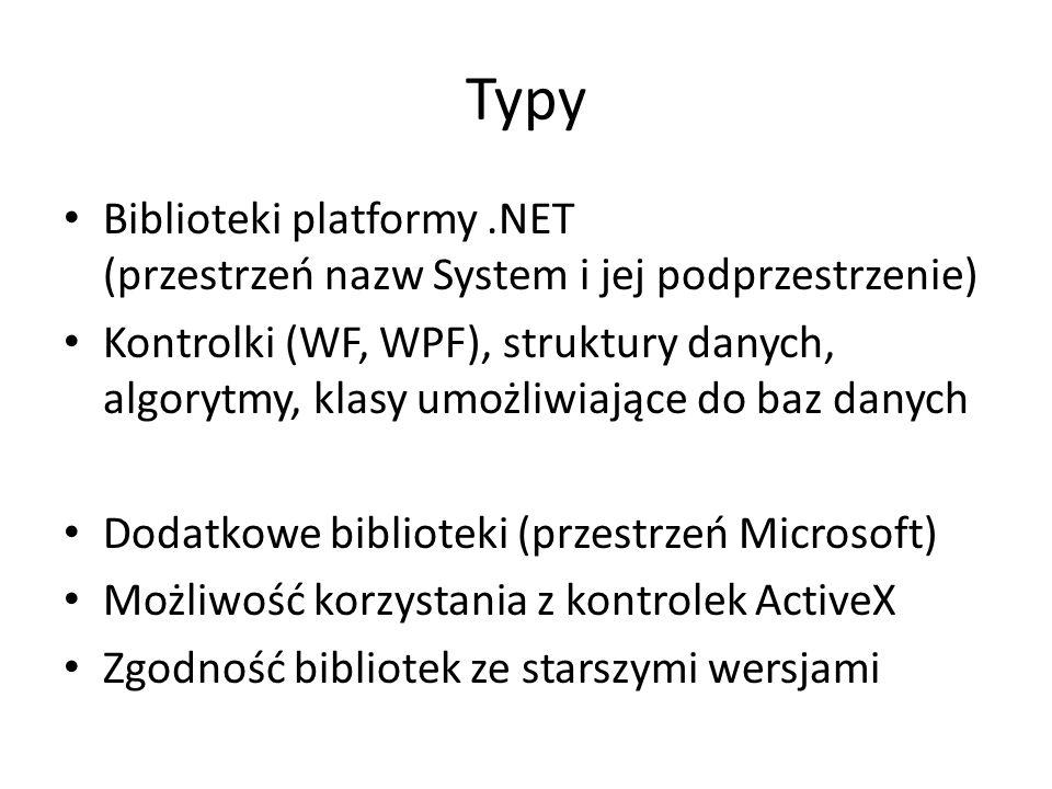 Typy Biblioteki platformy .NET (przestrzeń nazw System i jej podprzestrzenie)