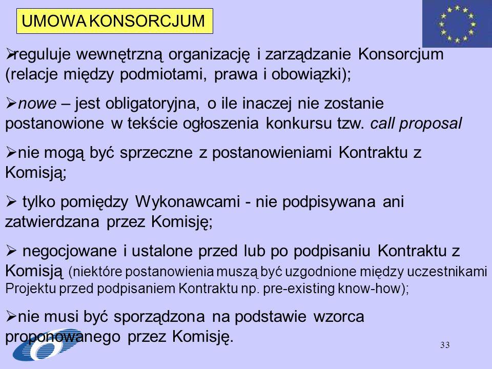UMOWA KONSORCJUM reguluje wewnętrzną organizację i zarządzanie Konsorcjum (relacje między podmiotami, prawa i obowiązki);