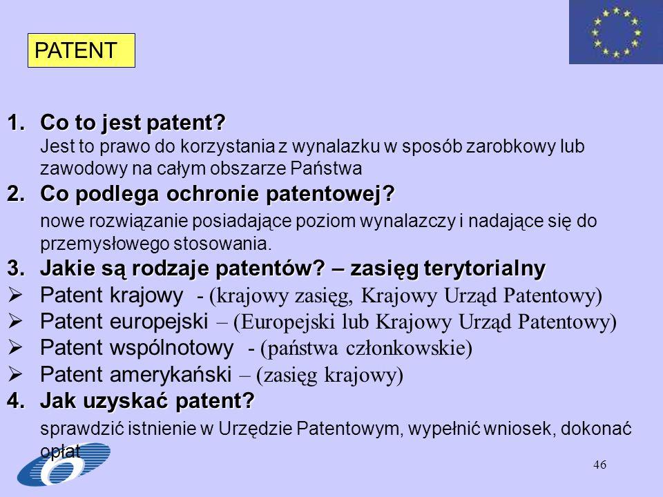 Co podlega ochronie patentowej