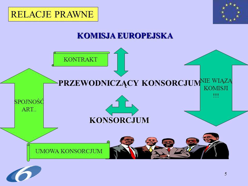 RELACJE PRAWNE KOMISJA EUROPEJSKA PRZEWODNICZĄCY KONSORCJUM KONSORCJUM