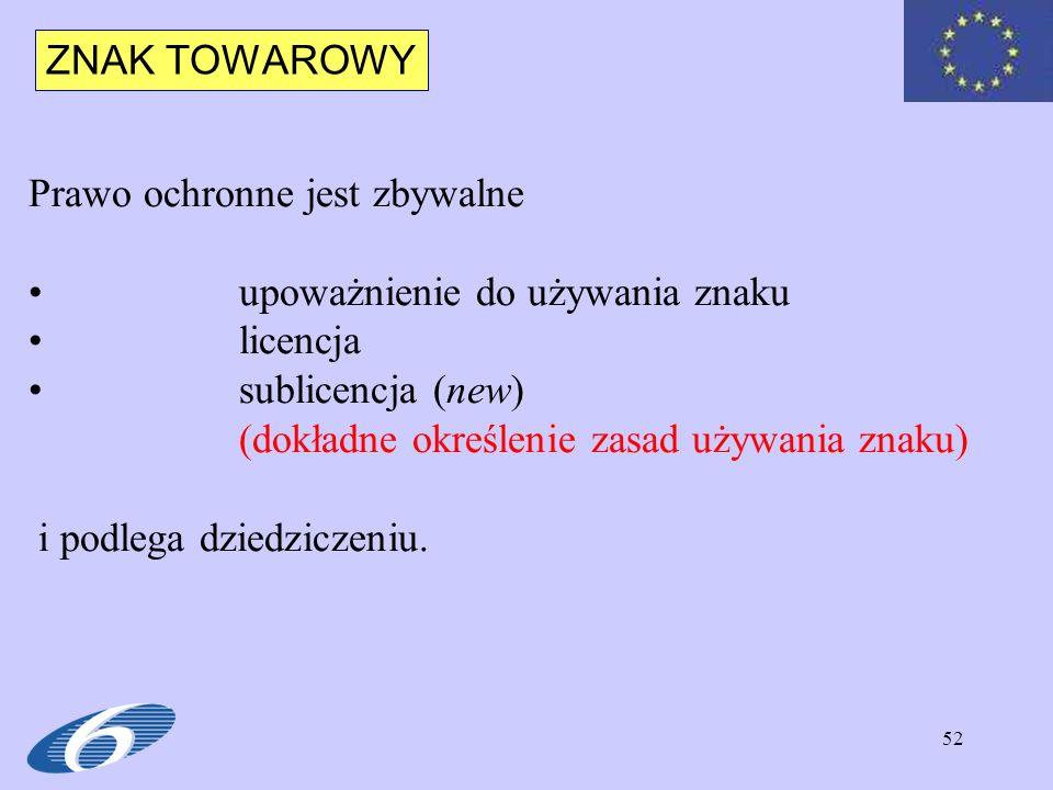 ZNAK TOWAROWYPrawo ochronne jest zbywalne. upoważnienie do używania znaku. licencja. sublicencja (new)