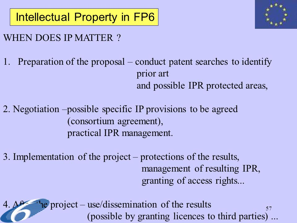 Intellectual Property in FP6