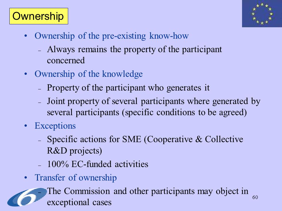 Ownership Ownership of the pre-existing know-how