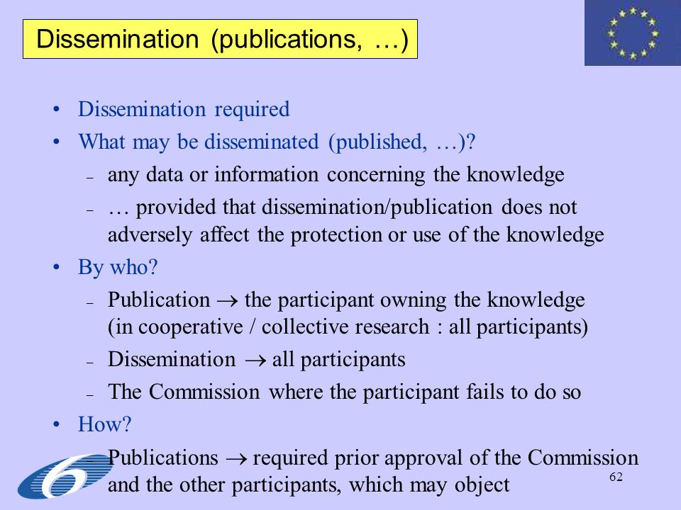 Dissemination (publications, …)