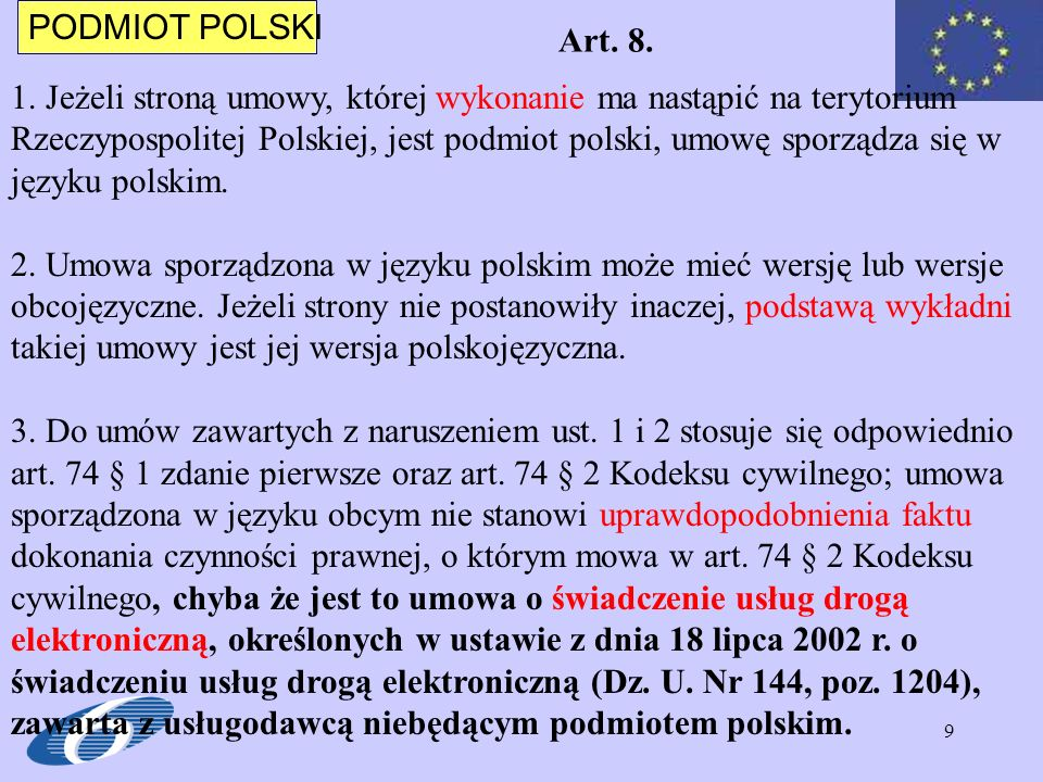 PODMIOT POLSKI Art. 8.