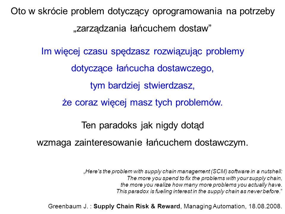 """Oto w skrócie problem dotyczący oprogramowania na potrzeby """"zarządzania łańcuchem dostaw"""