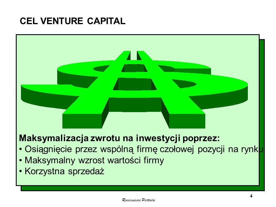CEL VENTURE CAPITAL Maksymalizacja zwrotu na inwestycji poprzez: Osiągnięcie przez wspólną firmę czołowej pozycji na rynku.