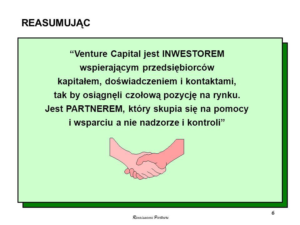 REASUMUJĄC Venture Capital jest INWESTOREM