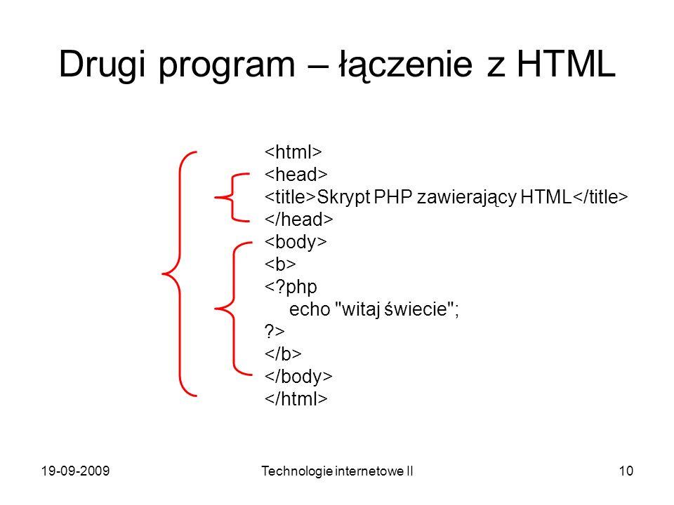 Drugi program – łączenie z HTML