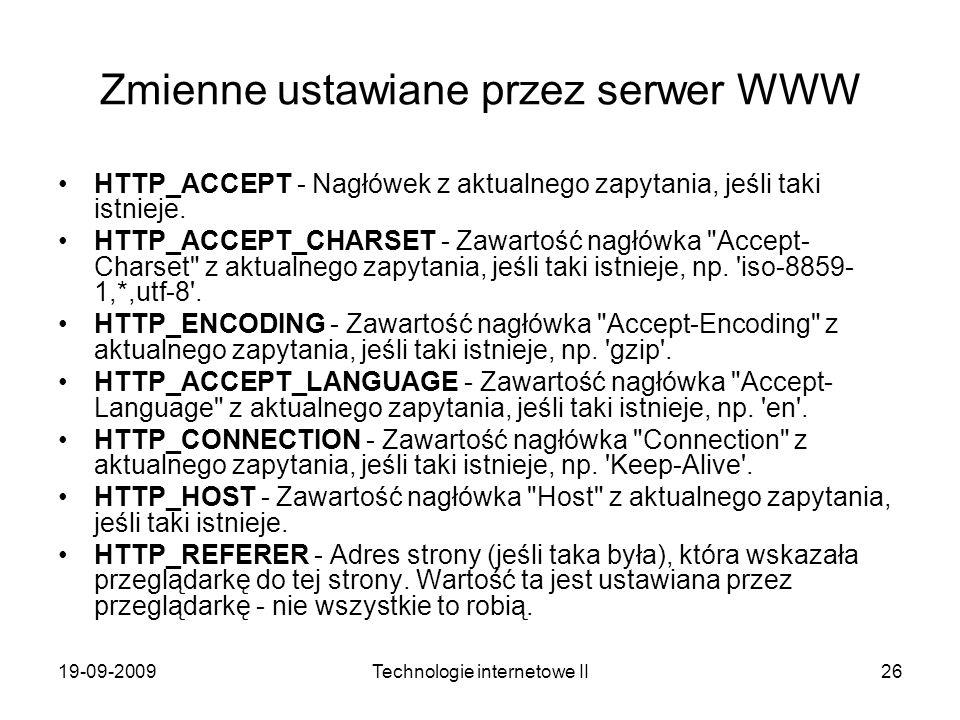 Zmienne ustawiane przez serwer WWW