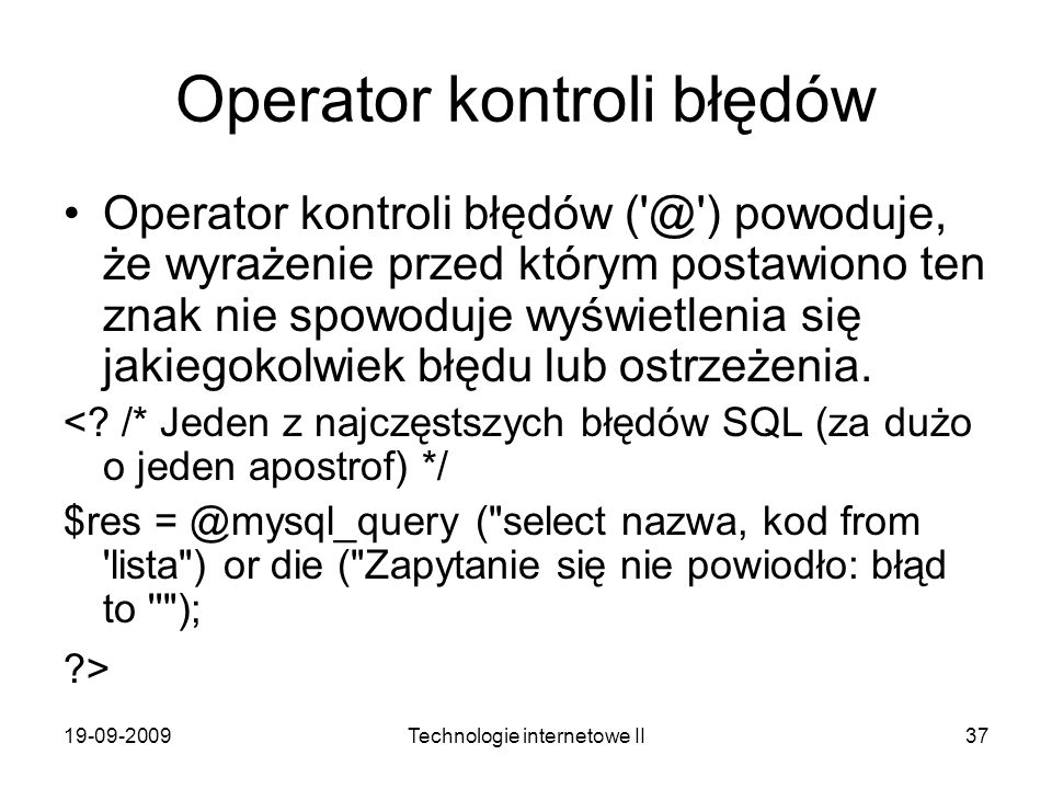 Operator kontroli błędów