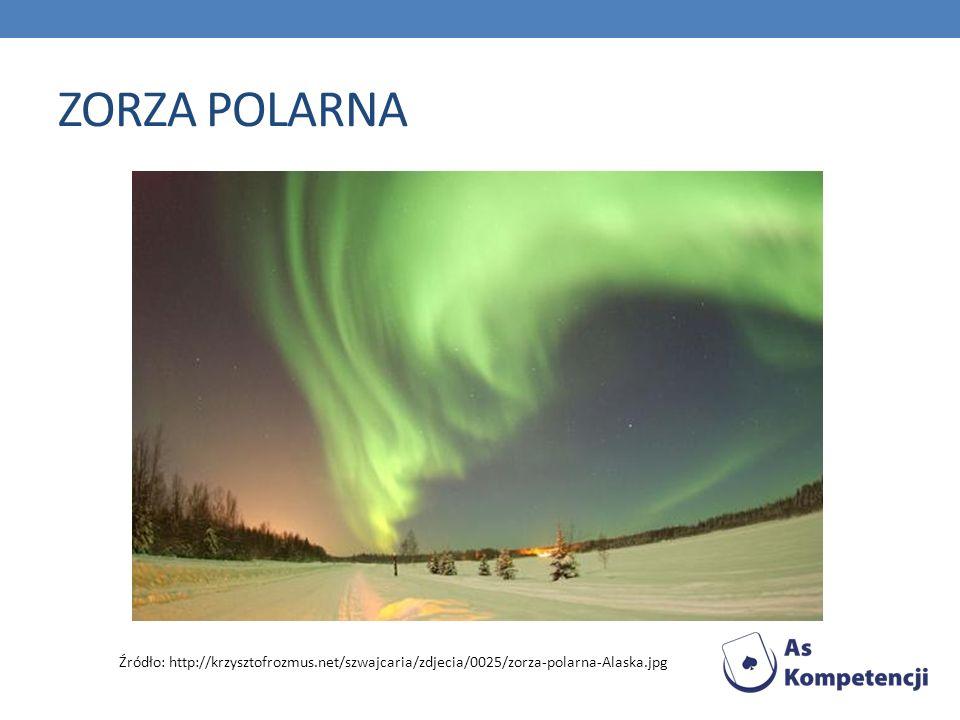 ZORZA POLARNA Źródło: http://krzysztofrozmus.net/szwajcaria/zdjecia/0025/zorza-polarna-Alaska.jpg