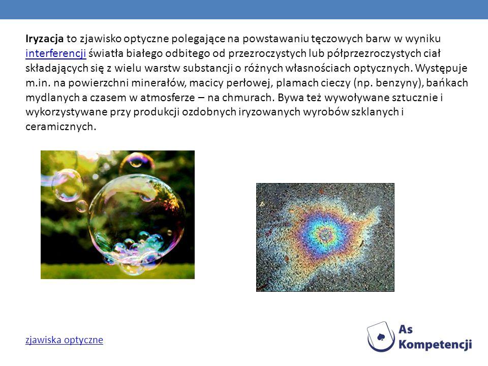 Iryzacja to zjawisko optyczne polegające na powstawaniu tęczowych barw w wyniku interferencji światła białego odbitego od przezroczystych lub półprzezroczystych ciał składających się z wielu warstw substancji o różnych własnościach optycznych. Występuje m.in. na powierzchni minerałów, macicy perłowej, plamach cieczy (np. benzyny), bańkach mydlanych a czasem w atmosferze – na chmurach. Bywa też wywoływane sztucznie i wykorzystywane przy produkcji ozdobnych iryzowanych wyrobów szklanych i ceramicznych.