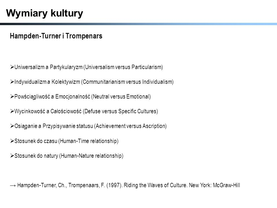 Wymiary kultury Hampden-Turner i Trompenars