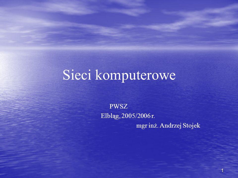Sieci komputerowe PWSZ Elbląg, 2005/2006 r. mgr inż. Andrzej Stojek