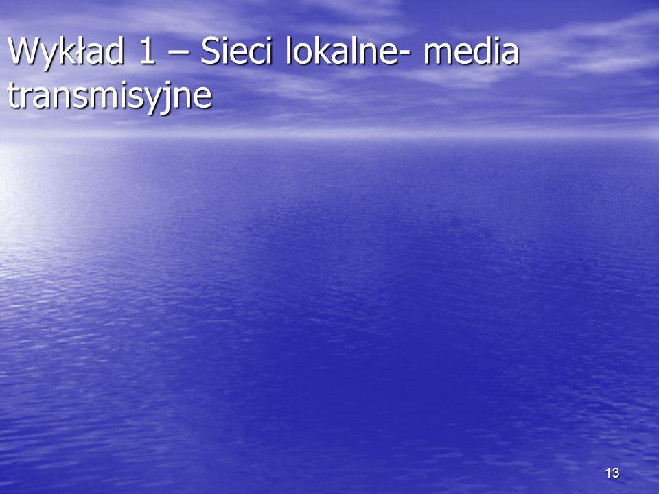 Wykład 1 – Sieci lokalne- media transmisyjne