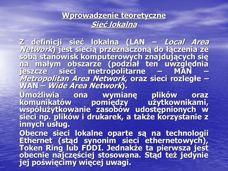 Wprowadzenie teoretyczne Sieć lokalna