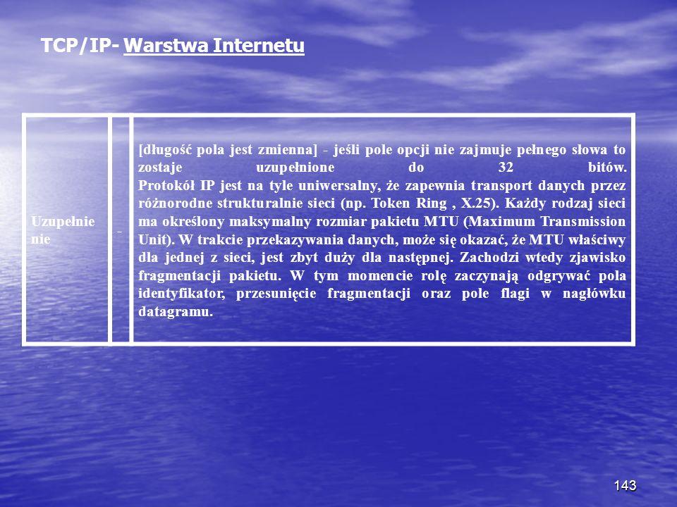 TCP/IP- Warstwa Internetu