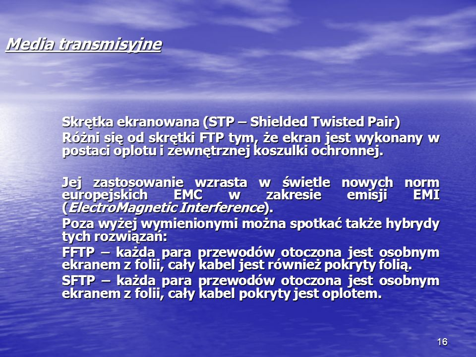 Media transmisyjne Skrętka ekranowana (STP – Shielded Twisted Pair)