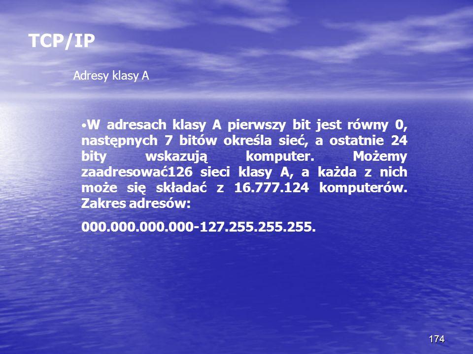 TCP/IP Adresy klasy A.