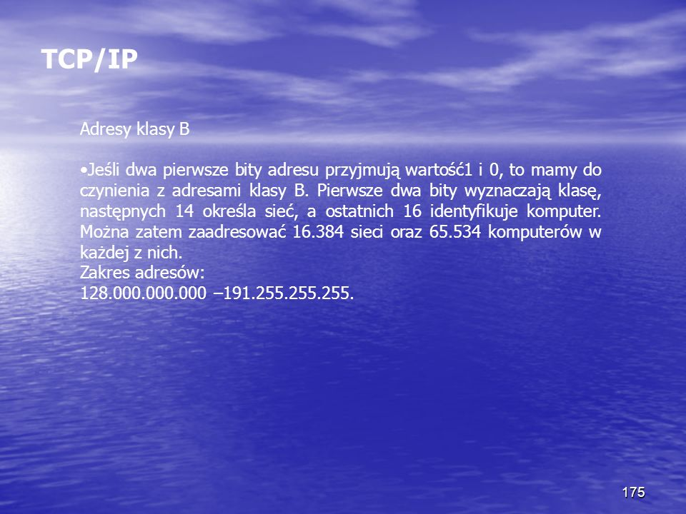 TCP/IP Adresy klasy B.
