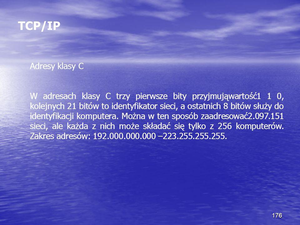 TCP/IP Adresy klasy C.