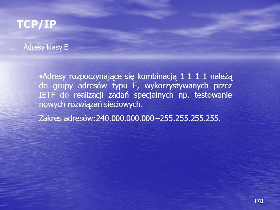 TCP/IP Adresy klasy E.