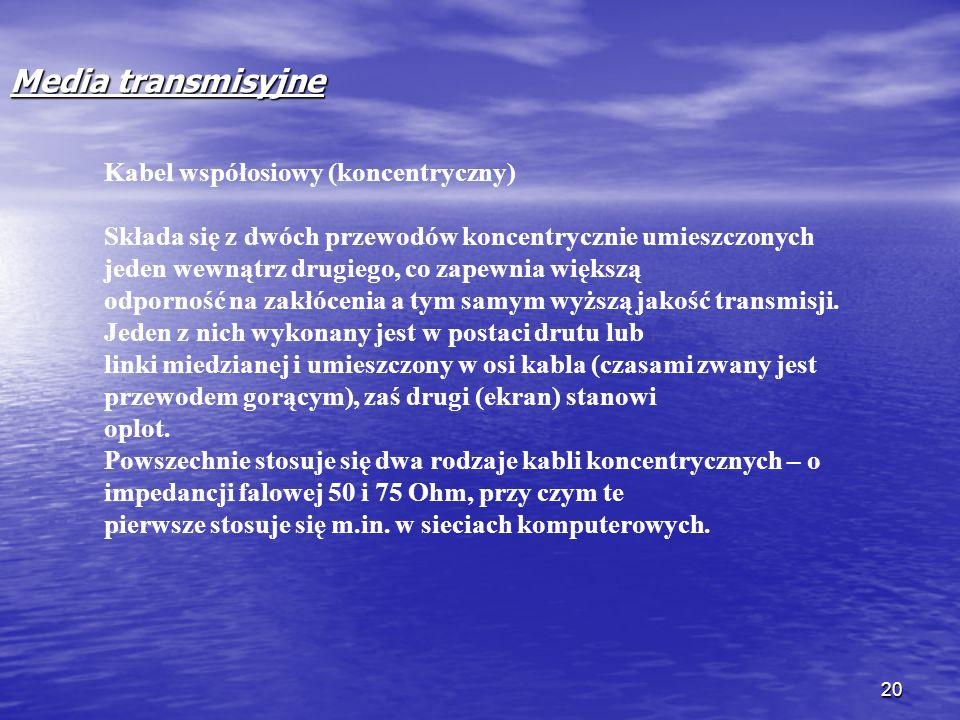 Media transmisyjne Kabel współosiowy (koncentryczny)