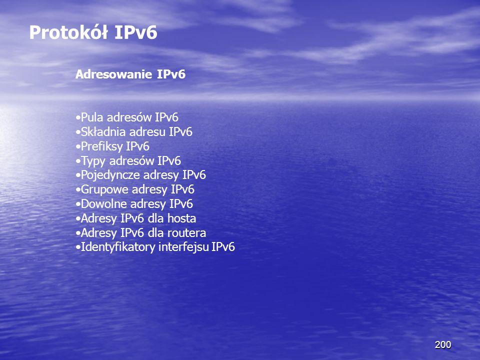 Protokół IPv6 Adresowanie IPv6 Pula adresów IPv6 Składnia adresu IPv6