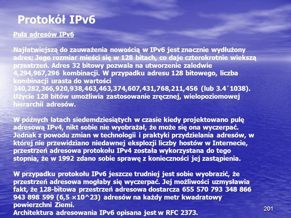 Protokół IPv6 Pula adresów IPv6